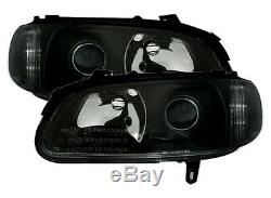 BLACK clear finish headlight set for Opel Omega B 94-99 projection lens