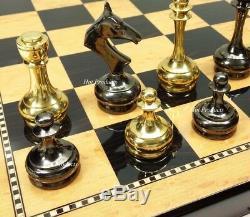 BRASS METAL GOLD & BLACK CHROME STAUNTON Chess Set WALNUT MAPLE FINISH BOARD 18