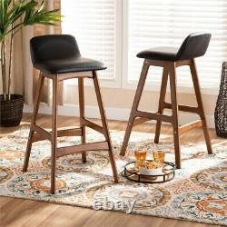 Baxton Studio Black Upholstered and Brown Finished Wood 2-Piece Bar Stool Set