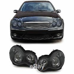 Black Clear Headlights SET H7 H7 in black finish for Mercedes C Class W203 00-06