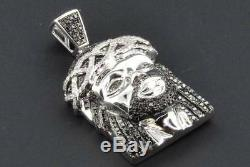 Black Diamond Mini Jesus Face Pendant Piece. 925 White Finish Charm & Chain Set