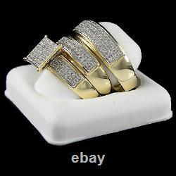 Black Friday Diamond 1/3ct Trio 14K Gold Finish engagement band bride groom set