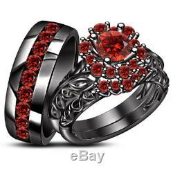 Black Gold Finish Men's & Ladies Garnet Trio Set Wedding Band Engagement Ring