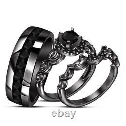 Black Gold Finish Men's/Women's Diamond Trio Engagement Wedding Set 2.1/5 CT