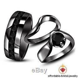 Black Gold Finish Round 1.30 CT Diamond Wedding Engagement Ring Band Trio Set