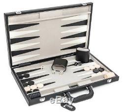 Black & Grey Finish Backgammon Game Set w Leather Case ID 32420