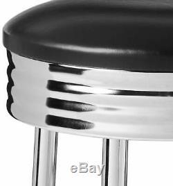 Black Retro Style Faux Leather and Chrome Finish Swivel Bar Stool Set of 2