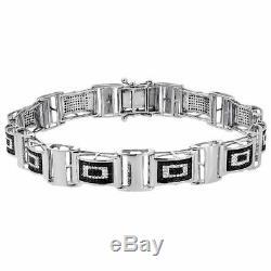 Black & White Diamond Pave Set Link Statement Bracelet 8 14K White Gold Finish