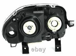 Black chrome color finish HB3 H7 headlight set for RENAULT CLIO 2 98-01 V6 LOOK
