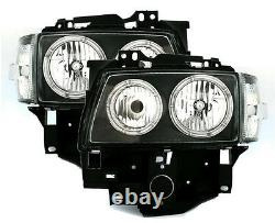 Black clear finish ANGEL EYES HEADLIGHTS SET with markers for VW T4 BUS 96-03