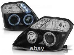 Black clear finish angel eye HALO headlight set for Citroen C2 03-10
