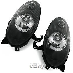 Black clear finish headlight front light set PAIR for NISSAN MICRA K12 03-07