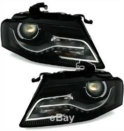 Black clear finish headlight set for AUDI A4 B8 8K 08-11 WITH LED DRL