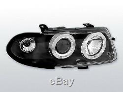 Black color clear finish angel eye headlights SET for Opel Astra F 94-97