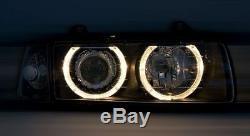 Black finish Angel Eyes HALO Headlight Set for BMW E36 all models RHD LHD cars