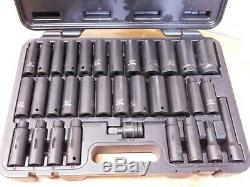 Blackhawk 33pc 1/2 Dr Black Finish Deep Well Impact Socket Set SAE & Metric