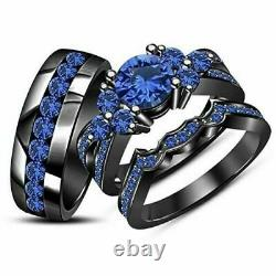Blue Sapphire 14k Black Gold Finish His her Wedding Bands Trio Ring Set 2.30 ctw