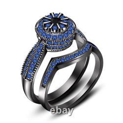Blue Sapphire Engagement Wedding Band Bridal Ring Set 14K Black Gold Finish