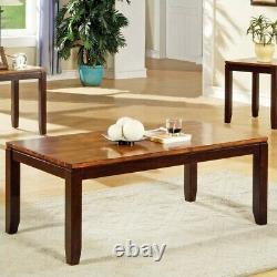 Bowery Hill 3 Piece Cocktail Table Set in Acacia Finish