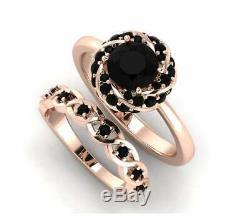 Bridal Set Band Engagement Ring 2ct Round Cut Black Diamond 14k Rose Gold Finish