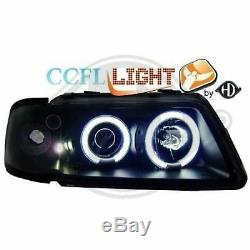 CCFL Angel Eyes Headlights Set FOR Audi A3 8L 96-00 in clear / black finish