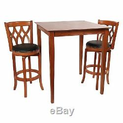 Cherry Finish 3 Piece Backrest Stool Pub Table Set Home Living Dining Furniture