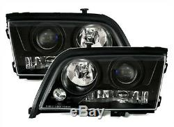 Clear Black finish headlightss SET with NSW for Mercedes W202 C-Class 93-00