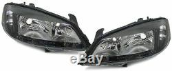 Clear black finish Front headlights front lights SET for Opel Astra G 97-07