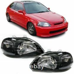 Clear black finish Headlights set for Honda Civic VI EJ EK 95-99