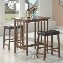 Coaster 3-Piece Counter Height Bar Dining Dinette Set Nut Brown 130004