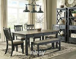 Cottage Two-Tones Black & Brown Finish 6 piece Dining Room Table Chairs Set IC0O