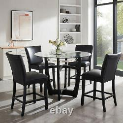 Counter Height Chair WithFaux Leather Upholstered Seat In Black Finish, Set Of 2
