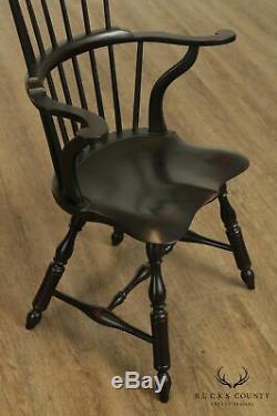 D. R. Dimes Black Crackle Finished Set 6 Windsor Dining Chairs