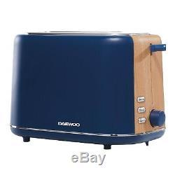 Daewoo Stockholm 2 Slice Toaster & Cordless Kettle Set Matte Blue & Wood Finish