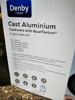 Denby 5-Piece Granite Finish Cast Aluminium Pan Set BNIB
