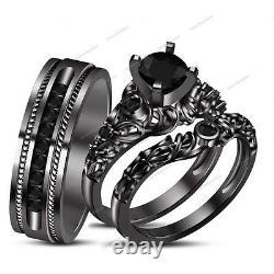 Diamond 14K Black Gold Finish Trio His Her Engagement Wedding Bridal Ring Set