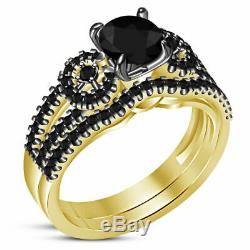 Diamond 14K Yellow Gold Finish Round Cut Halo Bridal Set Women's Engagement Ring