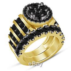 Diamond His Hers Trio Set Matching Engagement Ring & Band 14K Yellow Gold Finish