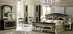 ESF Aida Black & Gold Finish King Size Bedroom Set 6 Pieces, Made in Italy
