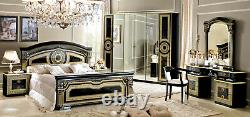 ESF Aida Black & Gold Finish Queen Size Bedroom Set 6 Pieces, Made in Italy