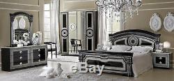 ESF Aida Black & Silver Finish Queen Size Bedroom Set 6 Pieces, Made in Italy