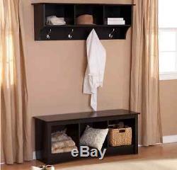 Entryway Hall Set Coat Rack Storage Cubbie Bench Seat Shelves Hooks Black Wood