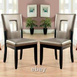 Evant I Side Dining Chair Set of 2 Key-Hole Back Design Leatherette Seat Black