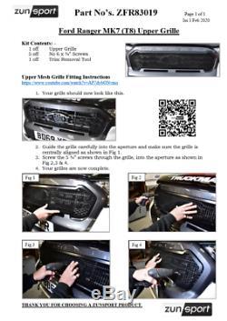 Ford Ranger MK7 (T8) Front Grille Set Black Finish (2019)