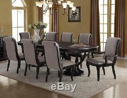 Formal Black Finish Grey Fabric Dining Table Set 9 Pcs McFerran D1600