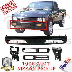 Front Bumper Black+ Bracket + Fog Light Molding Finisher For 96-97 Nissan Pickup