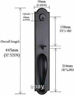 Front Double Door Handle Lock Set Black Finish in Oil Rubbed Bronzing Edges