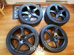 Genuine Ferrari California Diamond Cut Machined Finish Wheel Set Matte Black