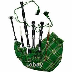 Great Highland Bagpipe Rosewood Black Finish Silver Mounts Chanter Set Full Size