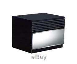 High-gloss Black Finish King Size Bedroom Set 3Pcs MANHATTAN Global USA